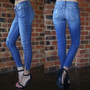 Denim - Distressed skinny stretch jeans